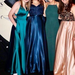 Sherri Hill Strapless Navy Blue Prom Dress
